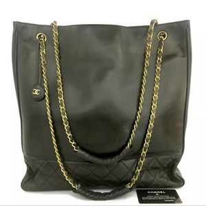 SALE- CHANEL XL Leather Classic Braided Gold Chain Grand Tote- Perfect Shopper!